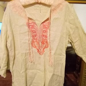 Symple NYC Linen Blouse Embroidered